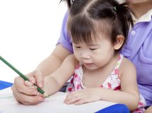 Portrait of woman and little asian girl drawing and painting together, mother teach her daughter to draw with colour pencil